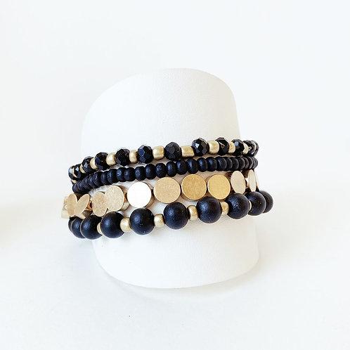 Ensemble de 4 bracelets élastiques Caracol, billes, Noir et or, 3186-BLK-G