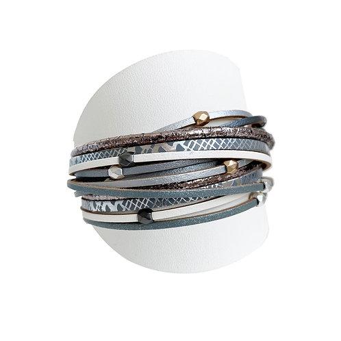 Bracelet Caracol, Cuir avec bille métal, Gris, 3137-GRY
