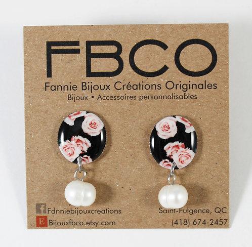 Boucles d'oreille FBCO ''Pauline: fleur rose et noir''