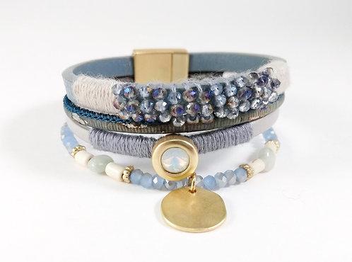 Bracelet cuirette bleu, corde, bille facetté, or mat
