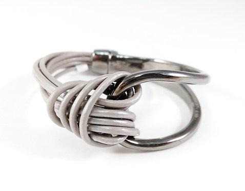 Bracelet Caracol, Cordons de cuir taupe, Métal noir