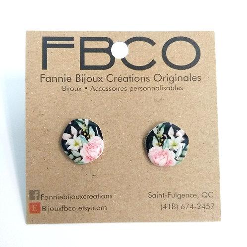 Boucles d'oreille FBCO, Cercle difforme, motif fleur sur fond noir