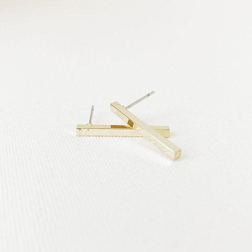 Boucles d'oreille Caracol, Bâton, Or lustré, 2213-GLD-S