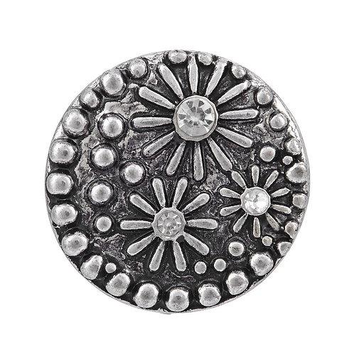 Bouton pression (snap) Nomaad Interchangeable, Fleurs argent antique
