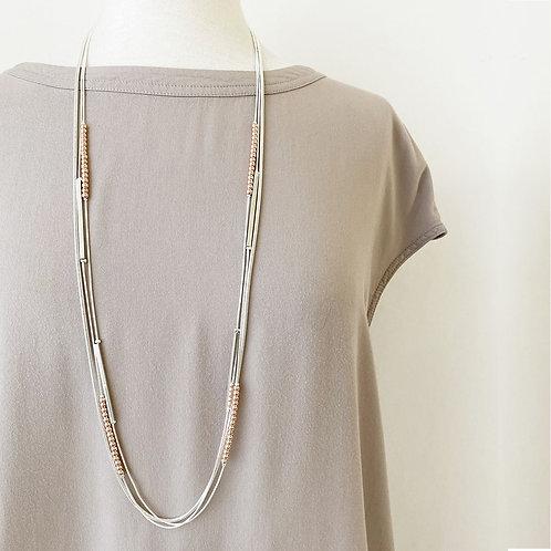 Collier long Caracol, Multi chaînes en métal, billes, Argent et or rose, 1441MXR