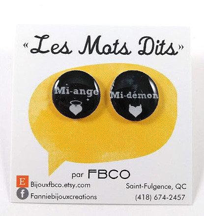 Boucles d'oreille FBCO '' Message: Mi-ange, Mi-démon''