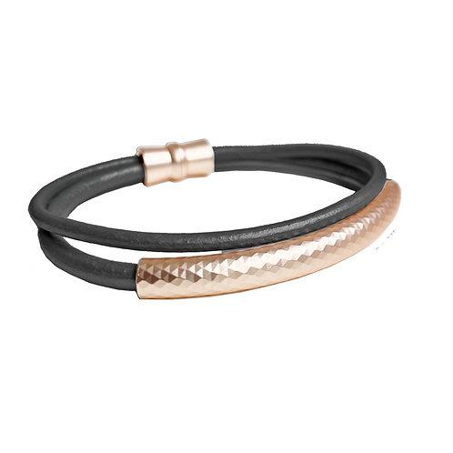 Bracelet élastique Caracol, Cuir, Noir et Or rose, 3187-BLK-R