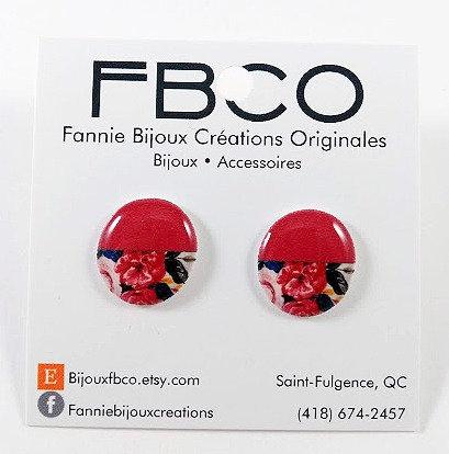 Boucles d'oreille FBCO ''Chikie Rose, fleur, touche de bleue''