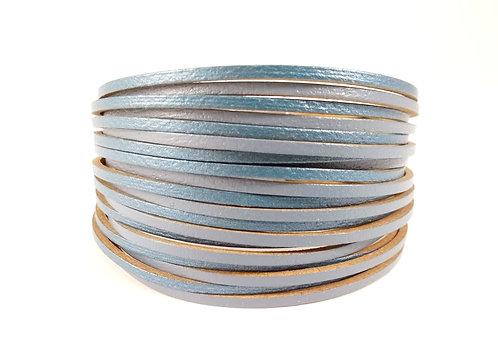 Bracelet Caracol, Multi-rangs, Bandes de cuir bleu