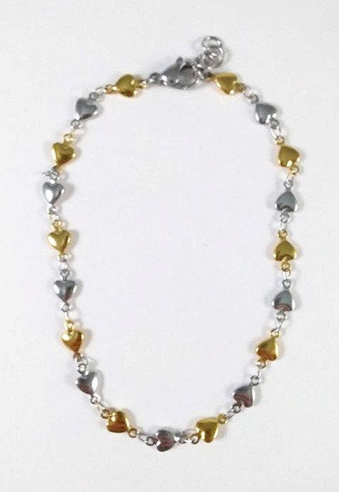 Bracelet de cheville, acier inoxydable, Coeur, argent et or