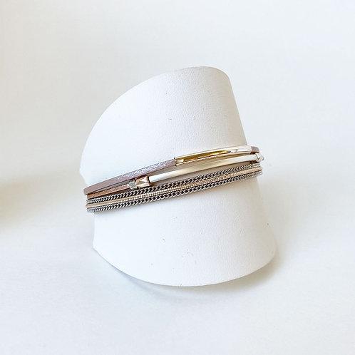 Bracelet Caracol, Cuir véritable, Tube, Or rose, 3171-NUD