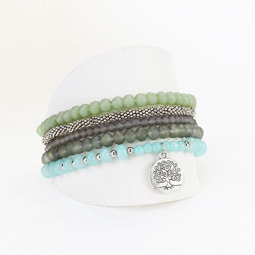 Ensemble de 5 bracelets élastiques Caracol, billes, Vert et aqua, 3116-AQU