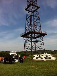 Centennial derrick and Route 66 shield, Tulsa