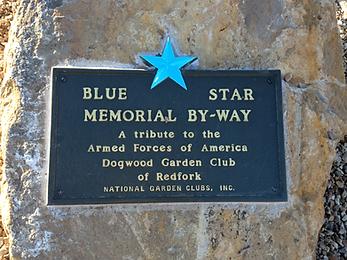Blue star memorial by-way, Dogwood Garden Club Redfork