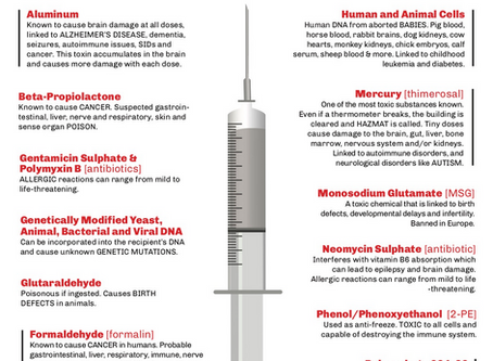 known vaccine ingredients and what they do