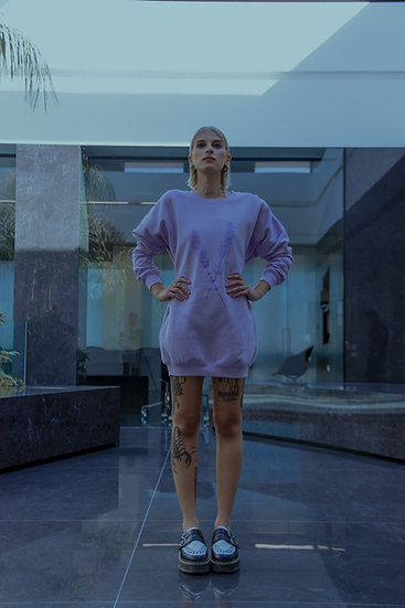 CASSIEL Lavender Logo Sweater Dress