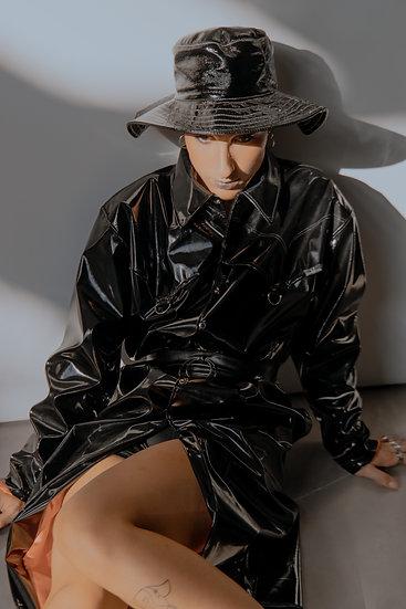 METZTLI Black patent faux leather coat