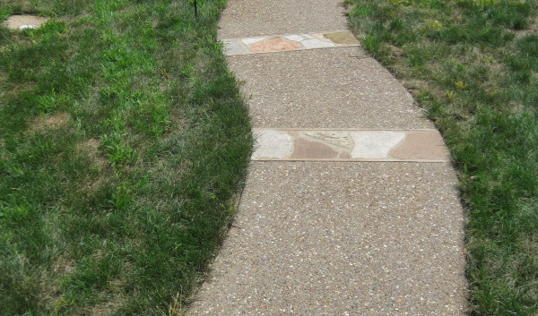 Exposed Aggregate Walkway with Stone Runners