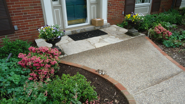 Front Stone Porch Landing & Exp Agg Walkway with Brick Header