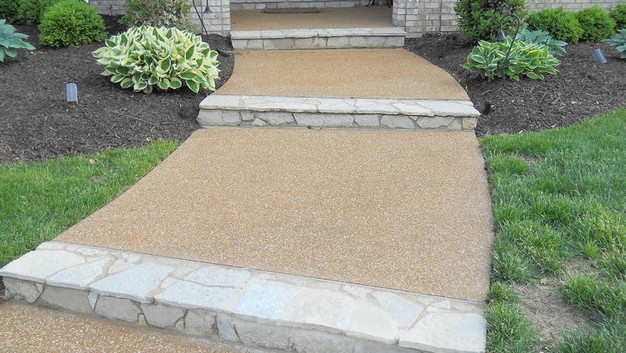 Exp Agg Walkway with Stone Steps and Porch