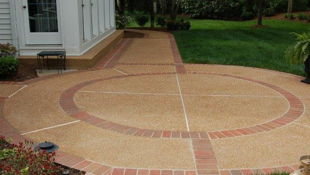 Exposed Aggregate Patio with Brick Runner