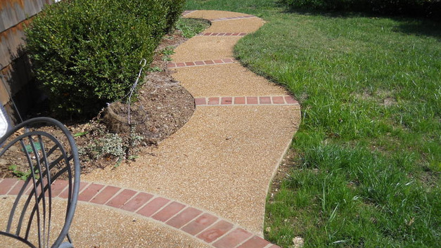 Exposed Aggregate Walkway with Brick Runners