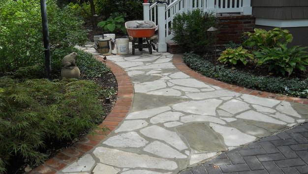Stone Walkway with Brick Header