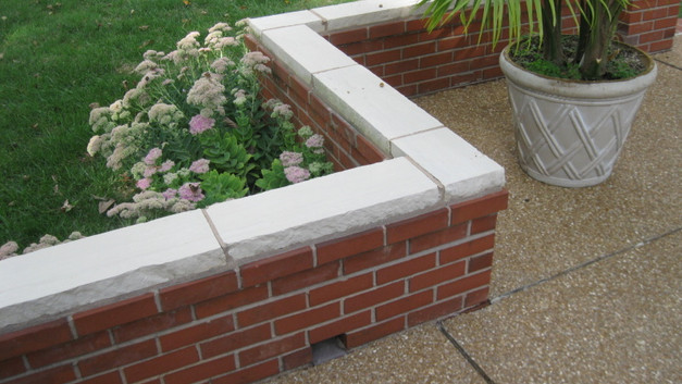 Brick Seat Walls with Stone Caps