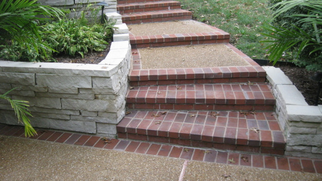 Exposed Aggregate Landings With Brick Steps