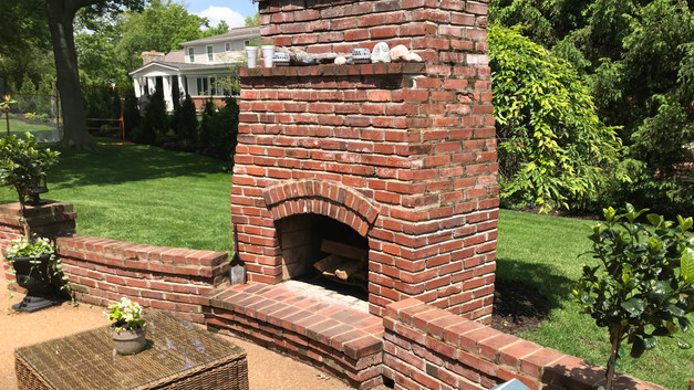 Outdoor Brick Fireplace with Brick Seat