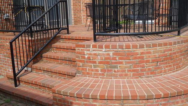 Brick Patio with Brick Steps and Seat Wall