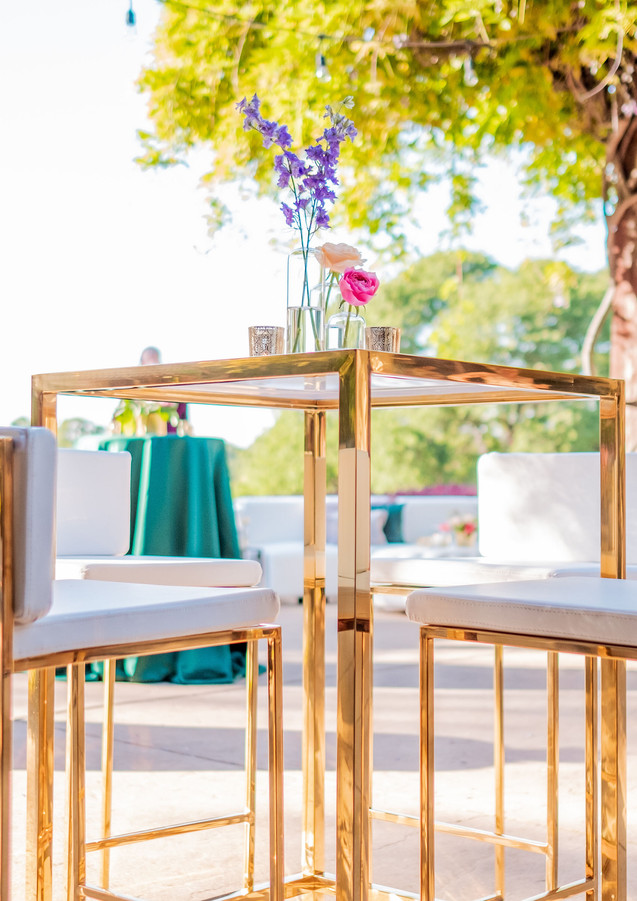 Capital Cocktail Tables in Gold & White