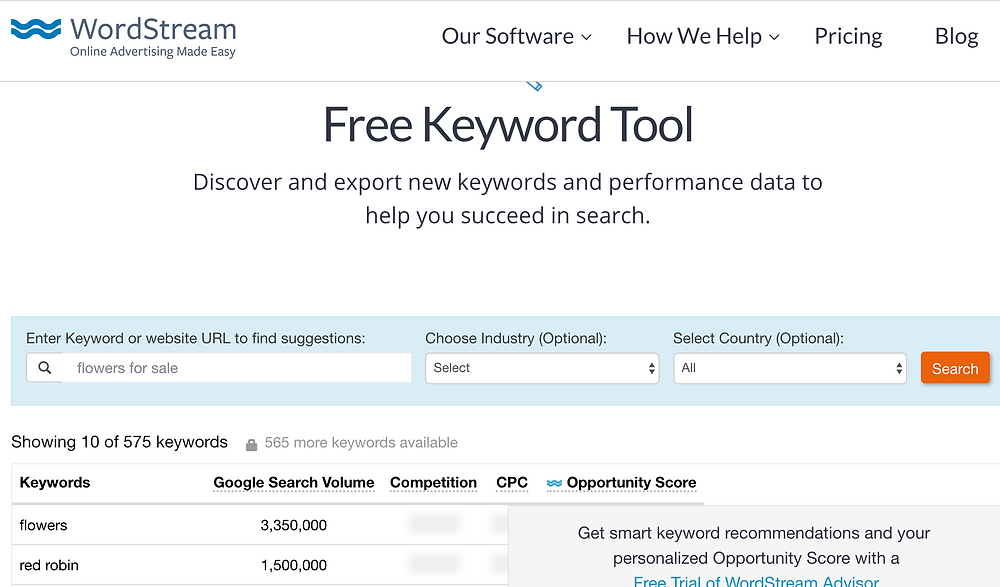 Free keyword research tool by wordstream