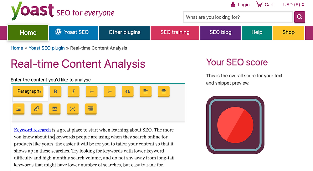 Real-time seo content analysis by yoast