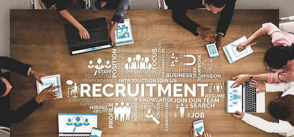Human Resources Recruitment and People Networking Concept. Modern graphic interface showin