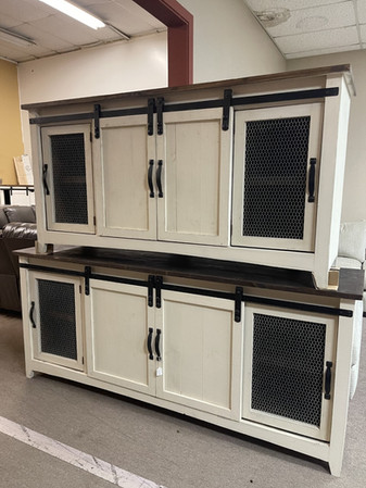 Red River 7ft white barndoor TV Stand $699 6ft. $649.00