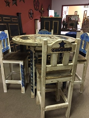 Used furniture white and blue cowboys pub table set 699 watchthetrailerfo