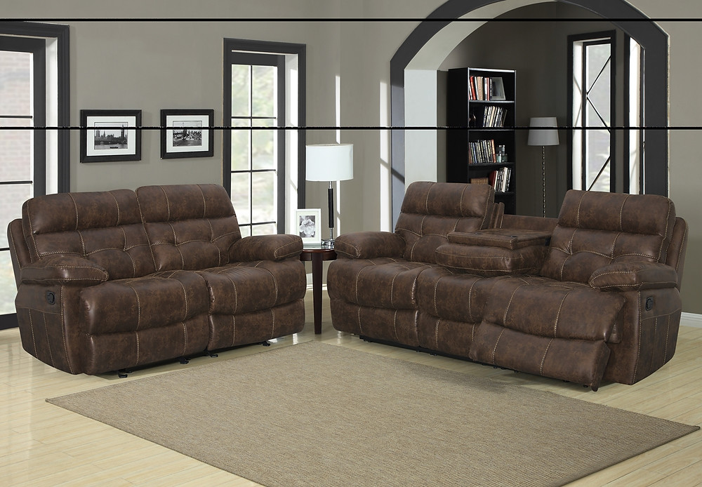 This set is all reclining with a drop down console on the sofa. Beautiful baseball stitching. The loveseat glides and reclines. On sale for $1399.00