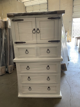 Mansion Queen White bed set with Rope dresser $1799.00