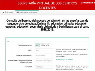 Abierta la página de consulta de la información sobre el proceso de admisión curso 2018/2019