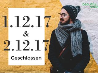 Am 1.12.17 und 2.12.17 bleiben unsere Lounge geschlossen.