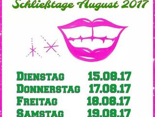 Schließtage August 2017
