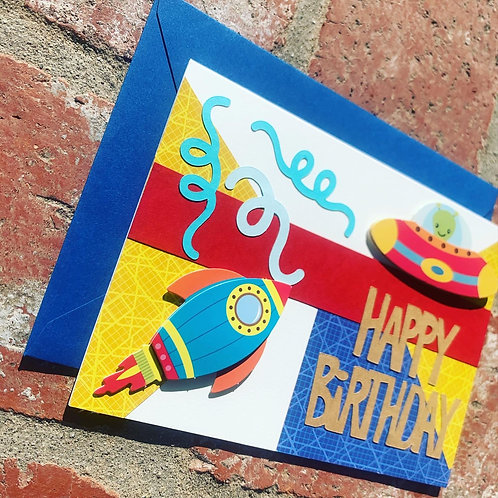 Spaceship Happy Birthday Card