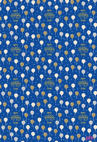 Happy Birthday Balloons Flat Wrap