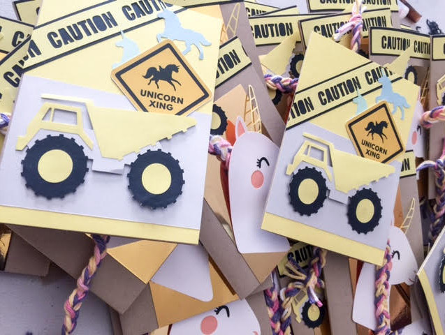 Unicorn and Construction Party Invitation