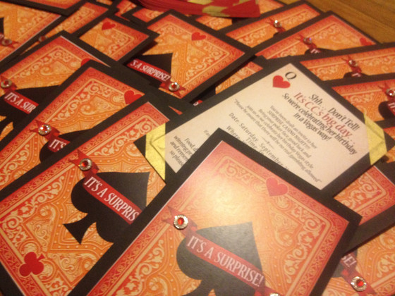 "Double Sided ""Card Like"" Casino Invitation"
