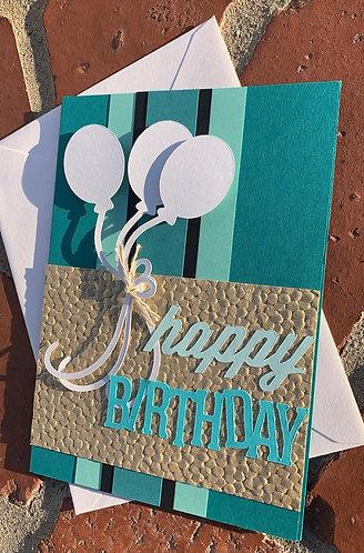 Happy Birthday White Balloons Card