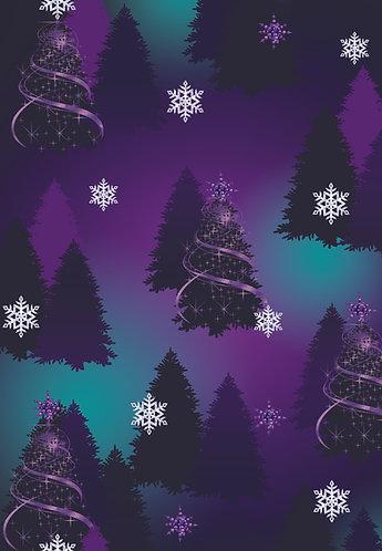 Purple and Blue Christmas Trees Flat Wrap