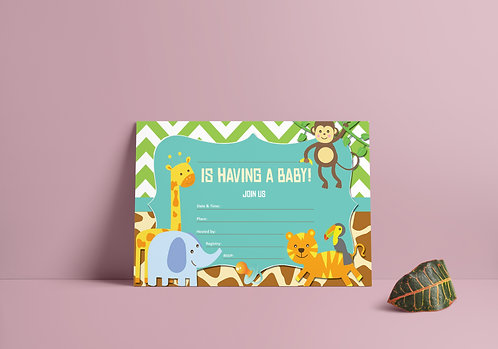 Baby Shower Invitation - Blue Baby Safari