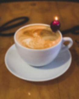 Our new smoked cherry latte, made with o